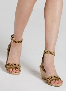 Mint Velvet Leopard Print Ponyskin Flo Low Wedge