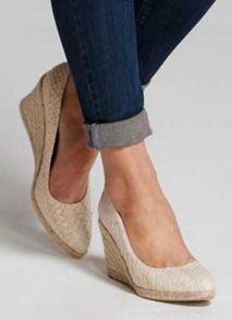 Mint Velvet Natural Grace Textured Leather Wedge