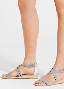 Mint Velvet Grey Kim Cross Over Low Wedge