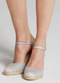 Mint Velvet Grey Gigi Metallic Canvas Wedge