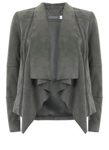 Mint Velvet Mid Grey Suede Zip Jacket