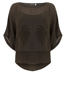 Mint Velvet Khaki Embroidered Layered Tee