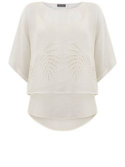 Ivory Embroidered Layered Tee