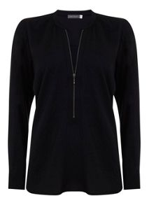 Navy Zip Front Blouse