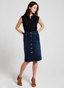 Mint Velvet Navy Sleeveless Pocket Shirt