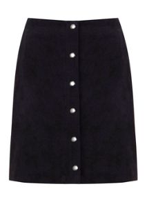 Navy Suede Popper Skirt