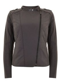 Smoke Quilted Biker Jacket