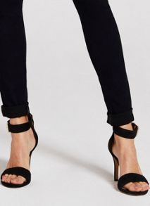 Black Abigail Suede Strappy Sandals