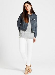 Mint Velvet Khaki Collarless Denim Jacket
