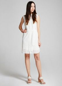Mint Velvet Ivory Broderie Shirt Dress