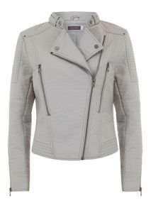 Mint Velvet Dove Faux Leather Collarless Jacket