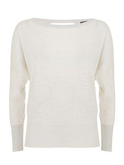 White Wrap Back Batwing Knit