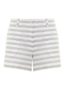 Mint Velvet Grey & White Stripe Short