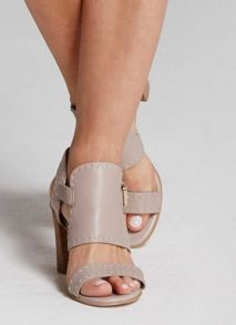 Mint Velvet Stone Mandy Stitch Detail Sandal