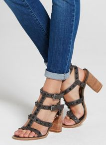 Mint Velvet Grey Billie Studded Strap Sandal