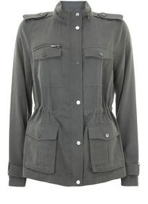 Mint Velvet Soft Khaki Military Jacket