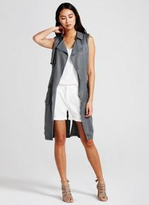 Mint Velvet Khaki Sleeveless Trench