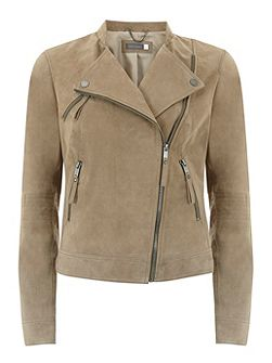 Mint Velvet Camel Suede Collarless Biker Jacket
