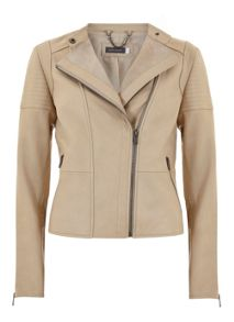 Mint Velvet Buttermilk Leather Collarless Biker Jacket