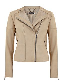 Buttermilk Leather Collarless Biker Jacket