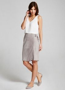 Mint Velvet Dove Suede Wrap Pencil Skirt