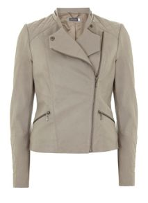 Mint Velvet Chalk Leather Stitch Detail Jacket