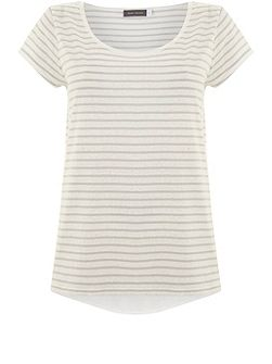 Ivory & Dove Stripe Voile Back Tee