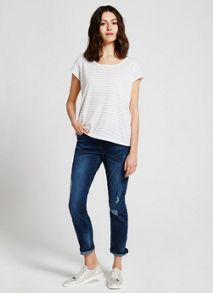 Mint Velvet Ivory & Dove Stripe Voile Back Tee