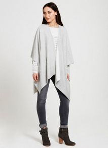 Mint Velvet Silver Grey Double Faced Knit Cape