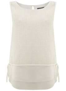 Mint Velvet Ivory Mesh Layered Top