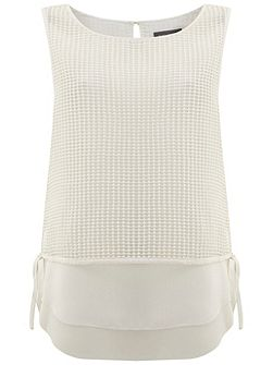 Ivory Mesh Layered Top