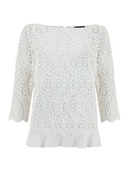 Ivory Lace Tie Back Layer Top