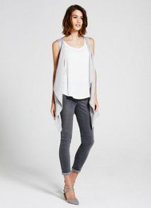Mint Velvet Ivory Raw Edge Vest