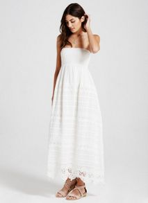 Mint Velvet White Lace Detail Bandeau Maxi Dress