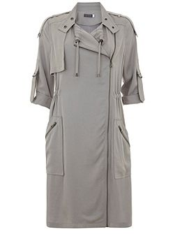 Dove Georgette Longline Patch Pocket Parka