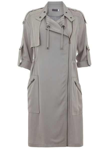 Mint Velvet Dove Georgette Longline Patch Pocket Parka