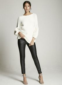 Mint Velvet Black Leather Look & Jersey Legging