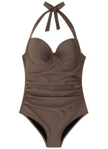 Mint Velvet Metallic Mocha Halter Neck Swimsuit