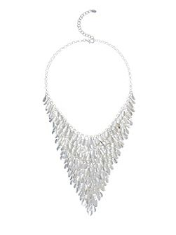Matt Silver Teardrop Statement Necklace