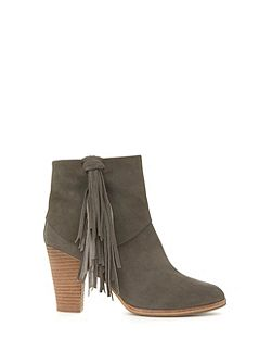 Grey Violet Tassel Ankle Boot