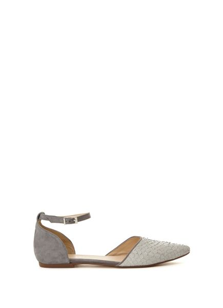Mint Velvet Textured Grey Audrey Ankle Strap Pump