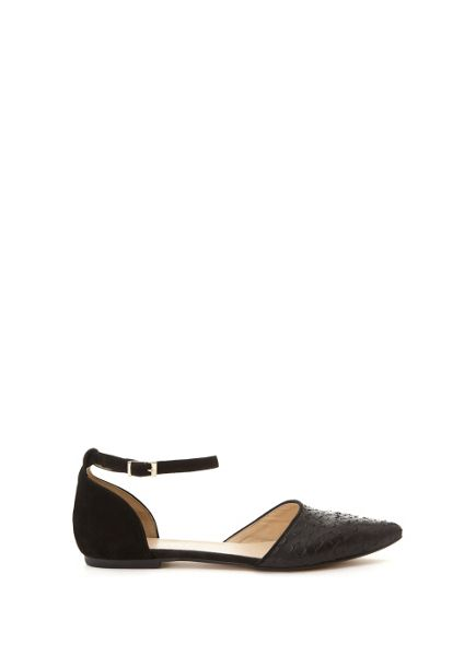 Mint Velvet Textured Black Audrey Ankle Strap Pump