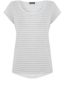 Mint Velvet Ivory & Dove Stripe Tee