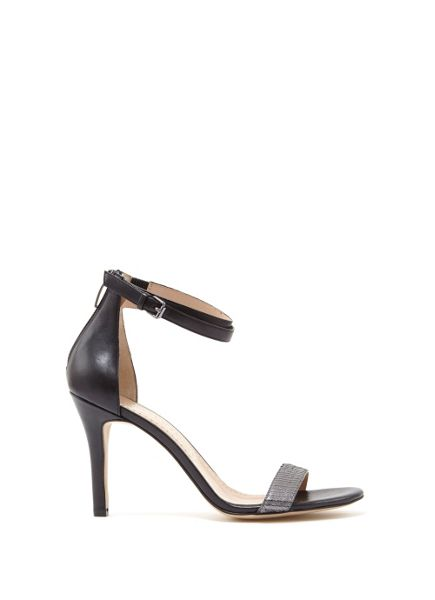 Mint Velvet Black & Pewter Fleur Double Strap Sandal