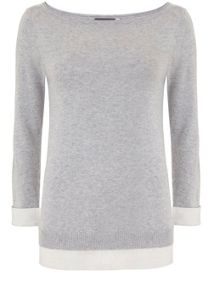 Mint Velvet Silver Grey Layered Knit