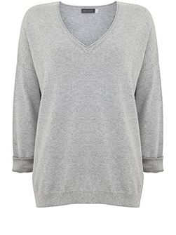 Silver Grey V-Neck Knit