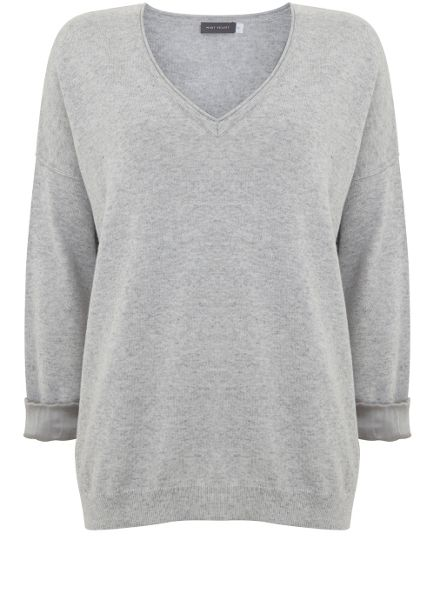 Mint Velvet Silver Grey V-Neck Knit