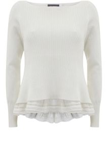 Mint Velvet Ivory Rib Layered Knit
