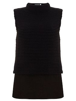 Black Chunky Stitch Layered Knit