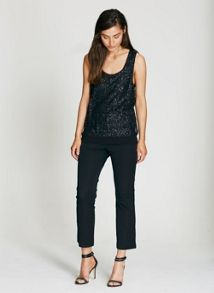 Mint Velvet Black Sequin Layer Vest